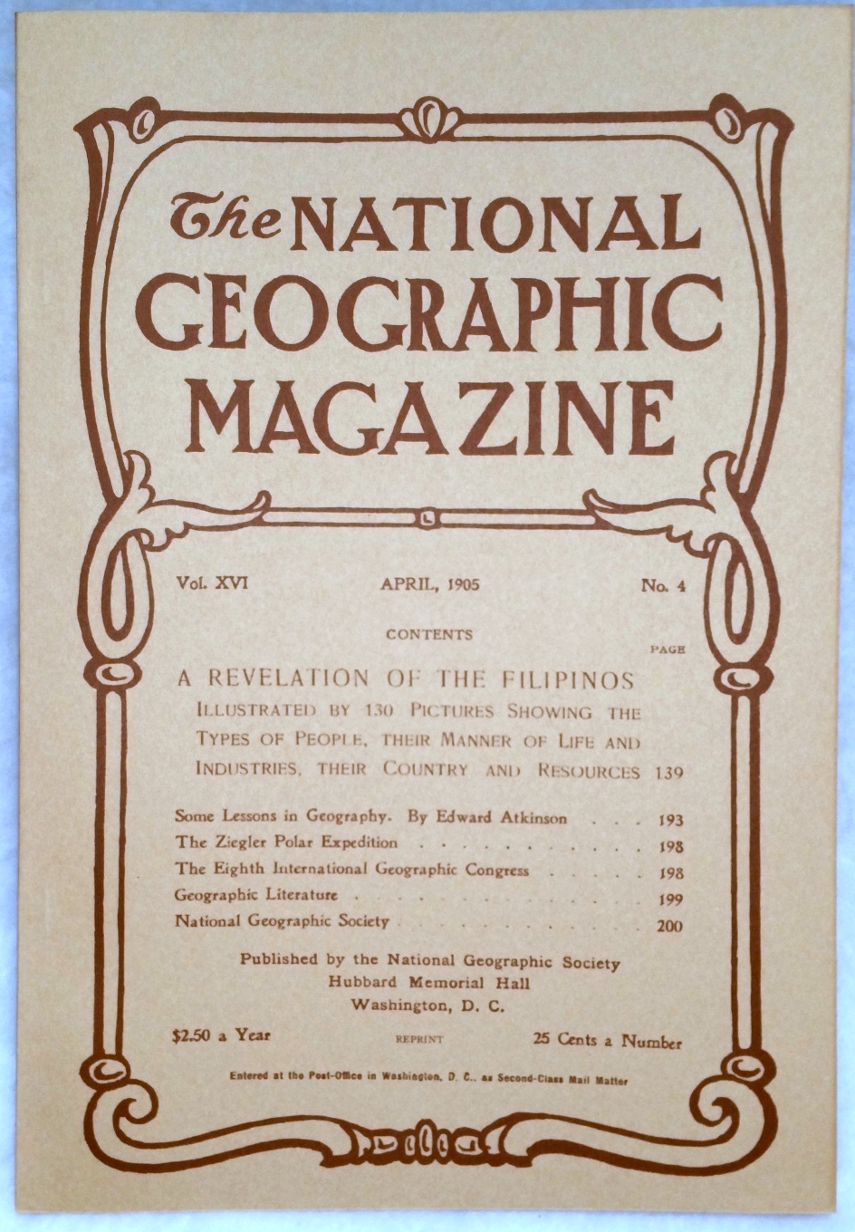 Image for The National Geographic Magazine, Vol.  XVI. No. 4, April, 1905 [Facsimile Reprint]