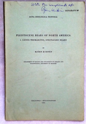 Image for Pleistocene Bears of North America, 1. Genus Tremarctos, Spectacled Bears