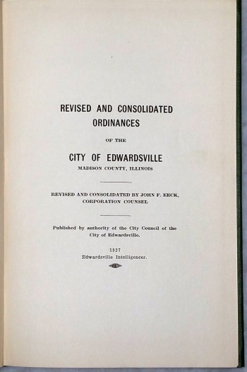 Image for Revised and Consolidated Ordinances of the City of Edwardsville, Madison County, Illinois