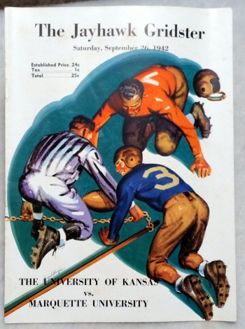 Image for [Souvenir Football Game Program] The Jayhawk Gridster, Saturday, September 26, 1942, The University of Kansas Vs. Marquette University