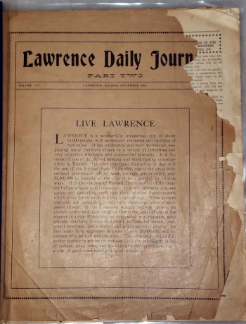 Image for Lawrence Daily Journal, Volume LIV, Part Two:  Live Lawrence; Prosperous, Beautiful Lawrence