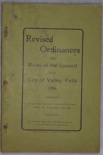 Image for Revised Ordinances and Rules of the Council of the City of Valley Falls, 1906