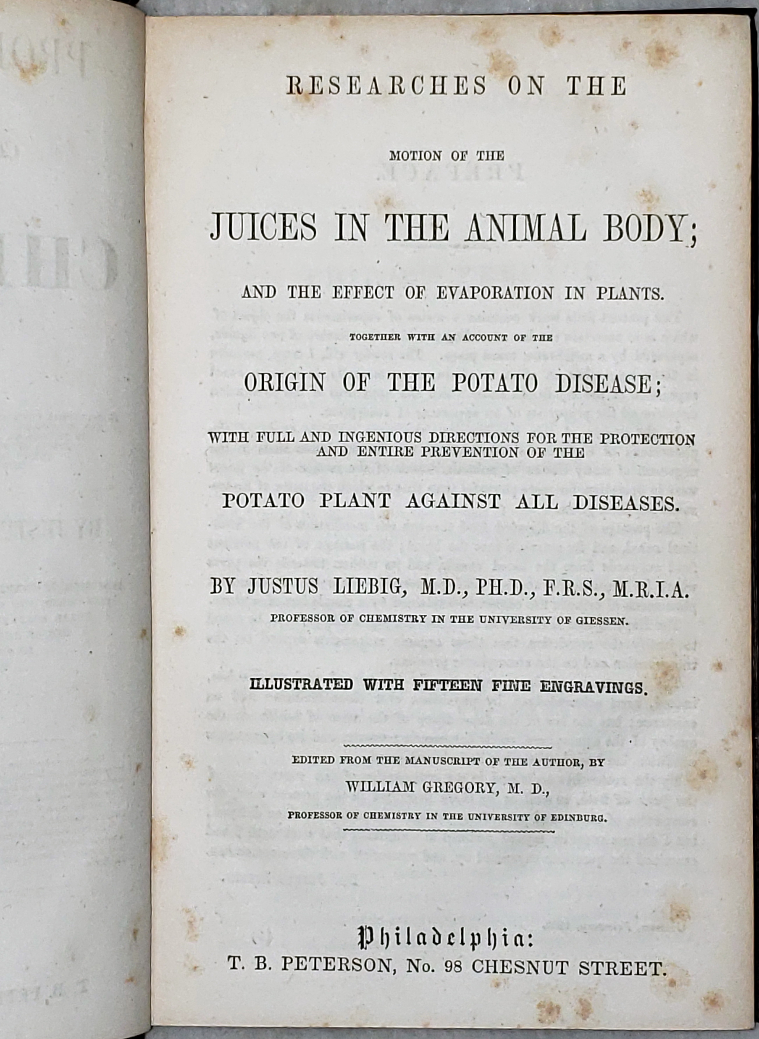 Image for Researches on the Motion of the Juices in the Animal Body; and the Effect of Evaporation in Plants. Together with an Account of the Origin of the Potato Disease; with Full and Ingenious Directions for the Protection and Entire Prevention of Potato Plant