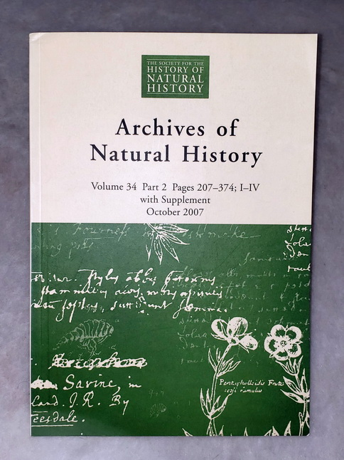 Image for Archives of Natural History, Volume 34, Part 2, October 2007