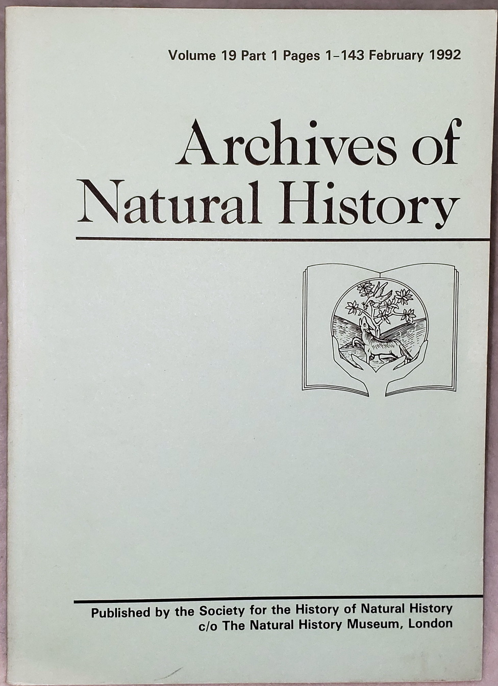 Image for Archives of Natural History, Volume 19, Part 1, February 1992