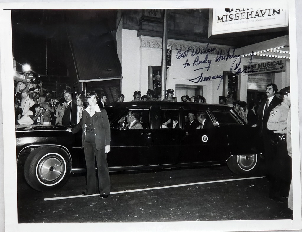 Image for 9 x 7 Inch Black and White Press Photograph, President Jimmy Carter Inscribed to Andy (Andrew) Hutch
