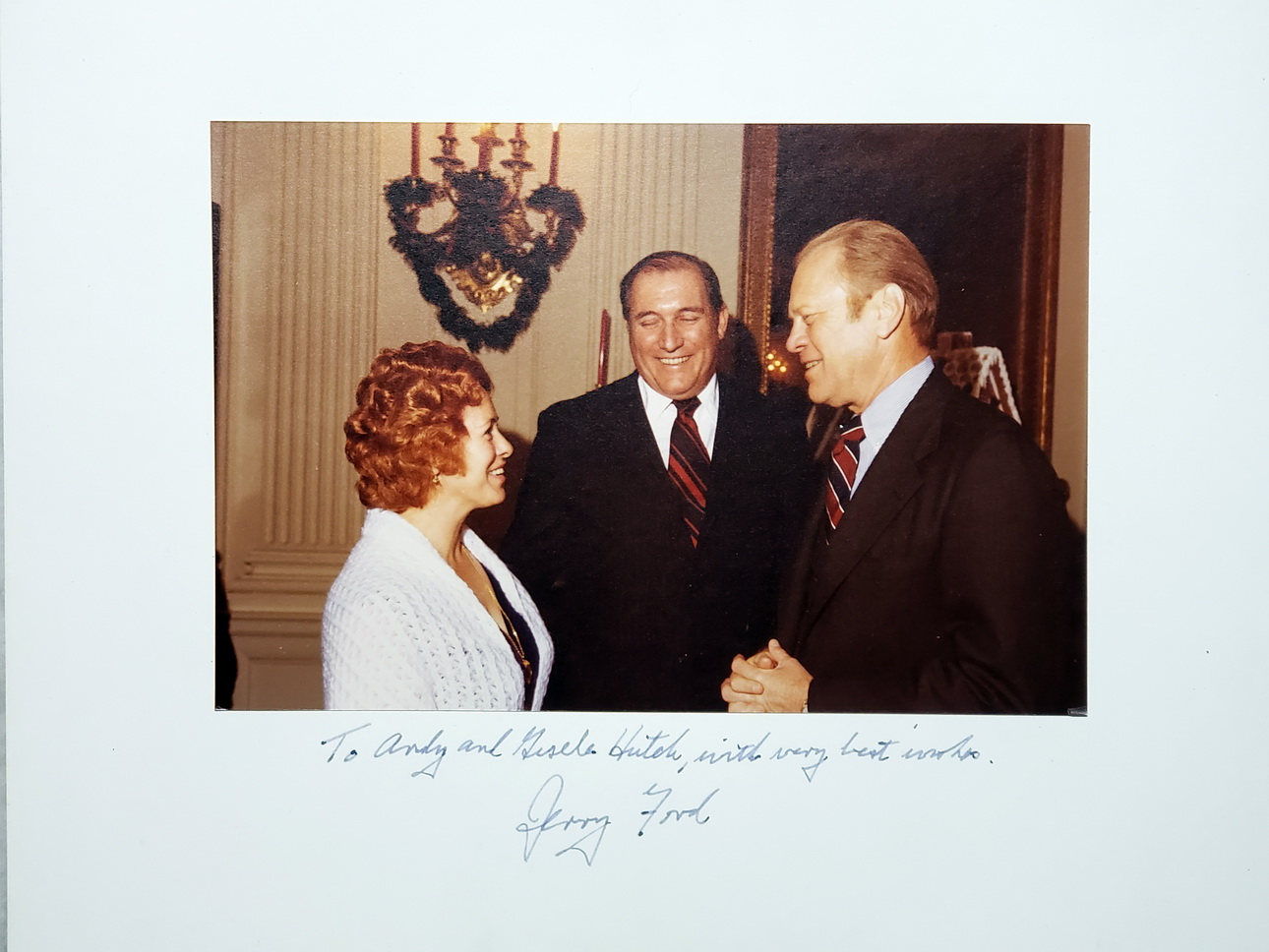 Image for 9 x 6 Inch Color Photograph, President Gerald Ford Inscribed to Andy (Andrew) Hutch and Wife Gisele