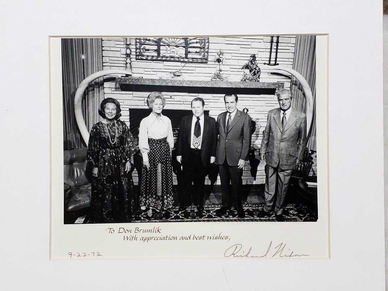 Image for 9 x 7 Inch Black and White Photograph with Richard Nixon, Don Brumlik, and Three Others with Signed with Autopen