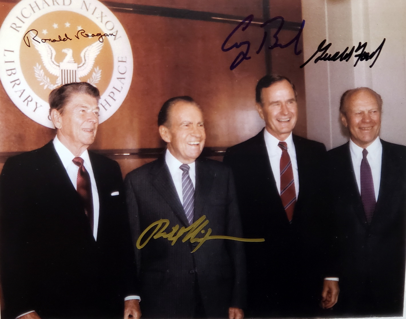 Image for 8 x10 inch color Photograph of Ronald Reagan, Richard Nixon, George Bush, and Gerald Ford at the opening of the Richard Nixon Library and Birthplace, Signed By Different Pens By each of the Four Presidents