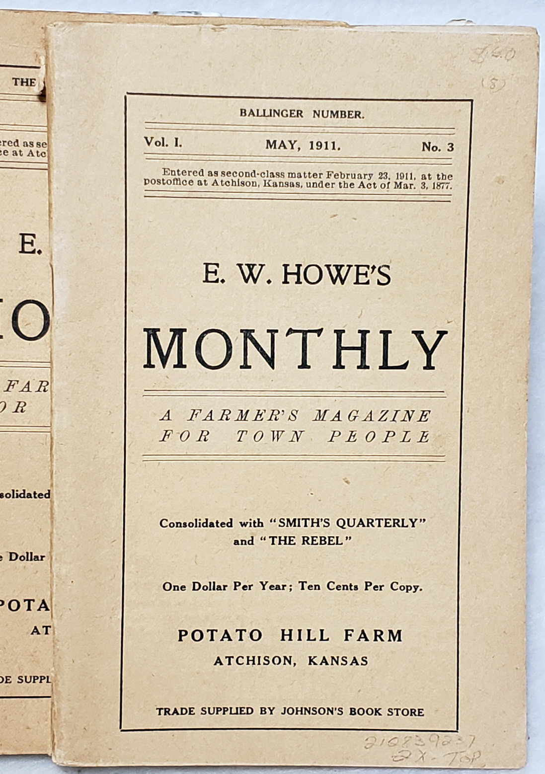 Image for E. W. Howe's Monthly:  A Farmer's Magazine for Town People, Vol. I, Nos 3, 9, 11; and Vol. II, Nos. 1, 5, 9, 10, 11