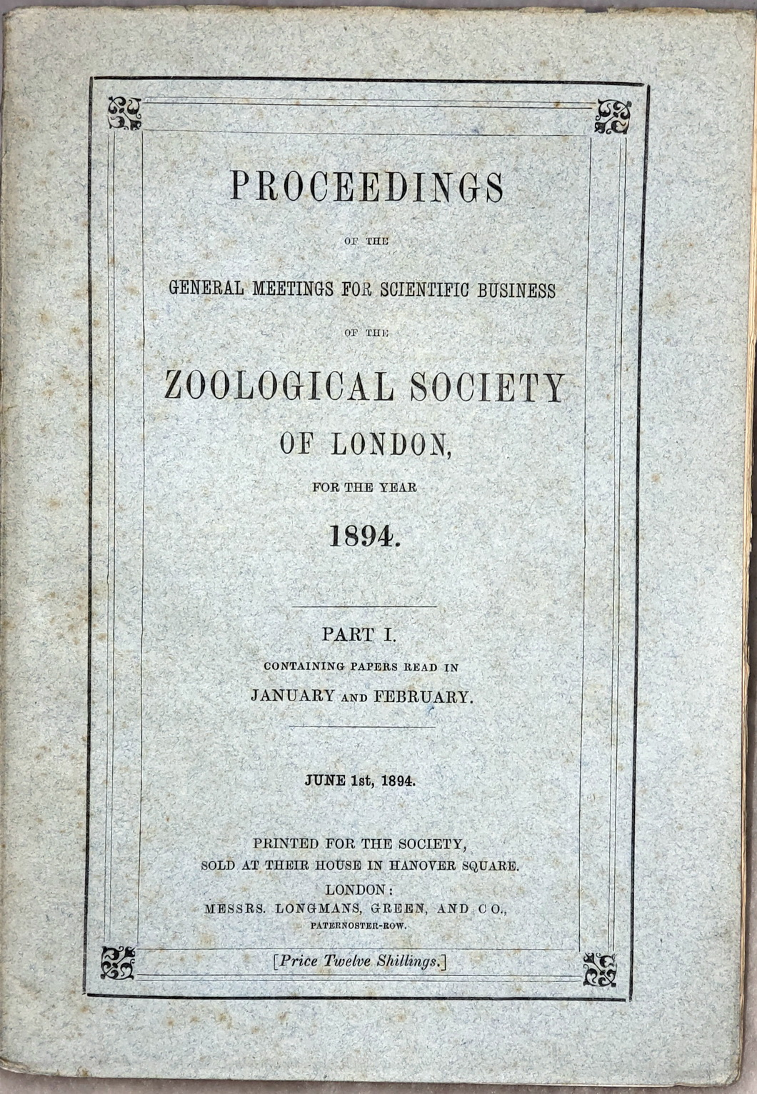 Image for Proceedings of the General Meetings for Scientific Business of the Zoological Society of London, for the Year 1894.  Part I. Containing Papers Read in January and February