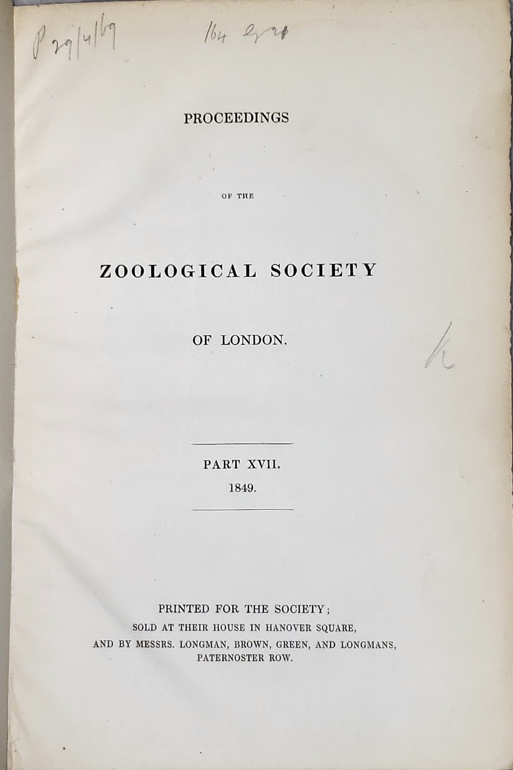 Image for Proceedings of the Zoological Society of London, Part XVII