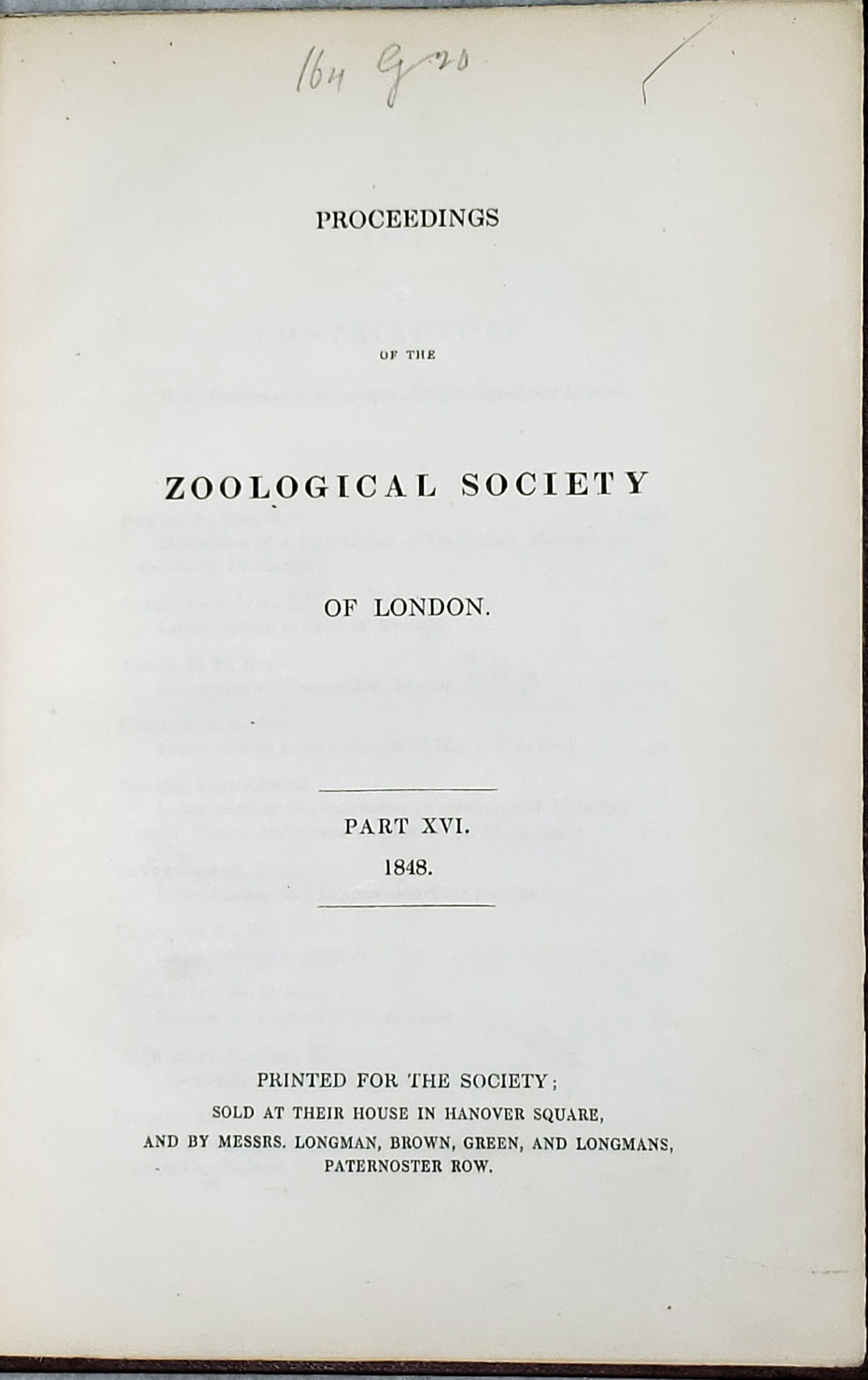 Image for Proceedings of the Zoological Society of London, Part XVI