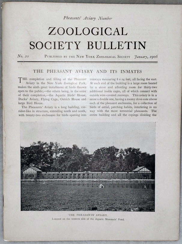 Image for Zoological Society Bulletin, No. 20, January 1906 (Pheasants' Aviary Number)