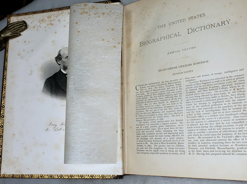 Image for The United States Biographical Dictionary. Kansas Volume.  Containing Accurately Compiled Biographical Sketches, Into Which is Woven the History of the State and Its Leading Interests.