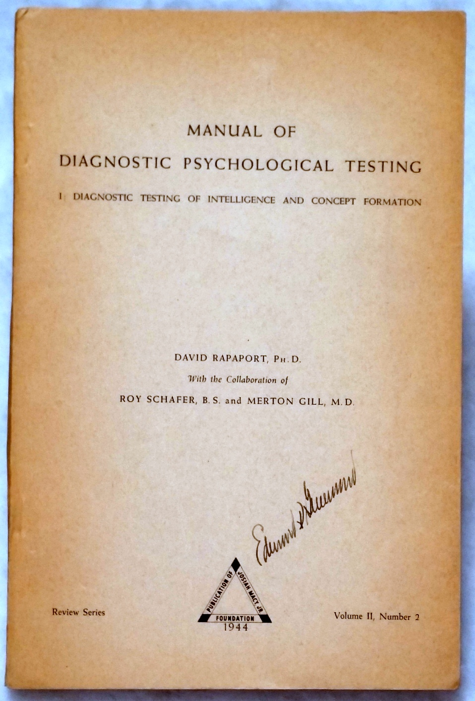 Image for Manual of Diagnostic Psychological Testing, I: Diagnostic Testing of Intelligence and Concept Formation