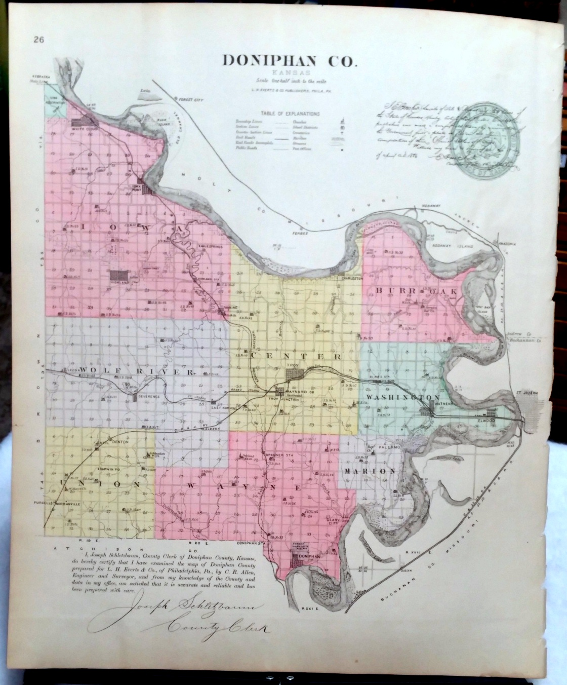 Image for [Map] Doniphan County, Kansas [backed with] Eudora of Douglas Co. And Maynard and White Cloud of Doniphan Co.
