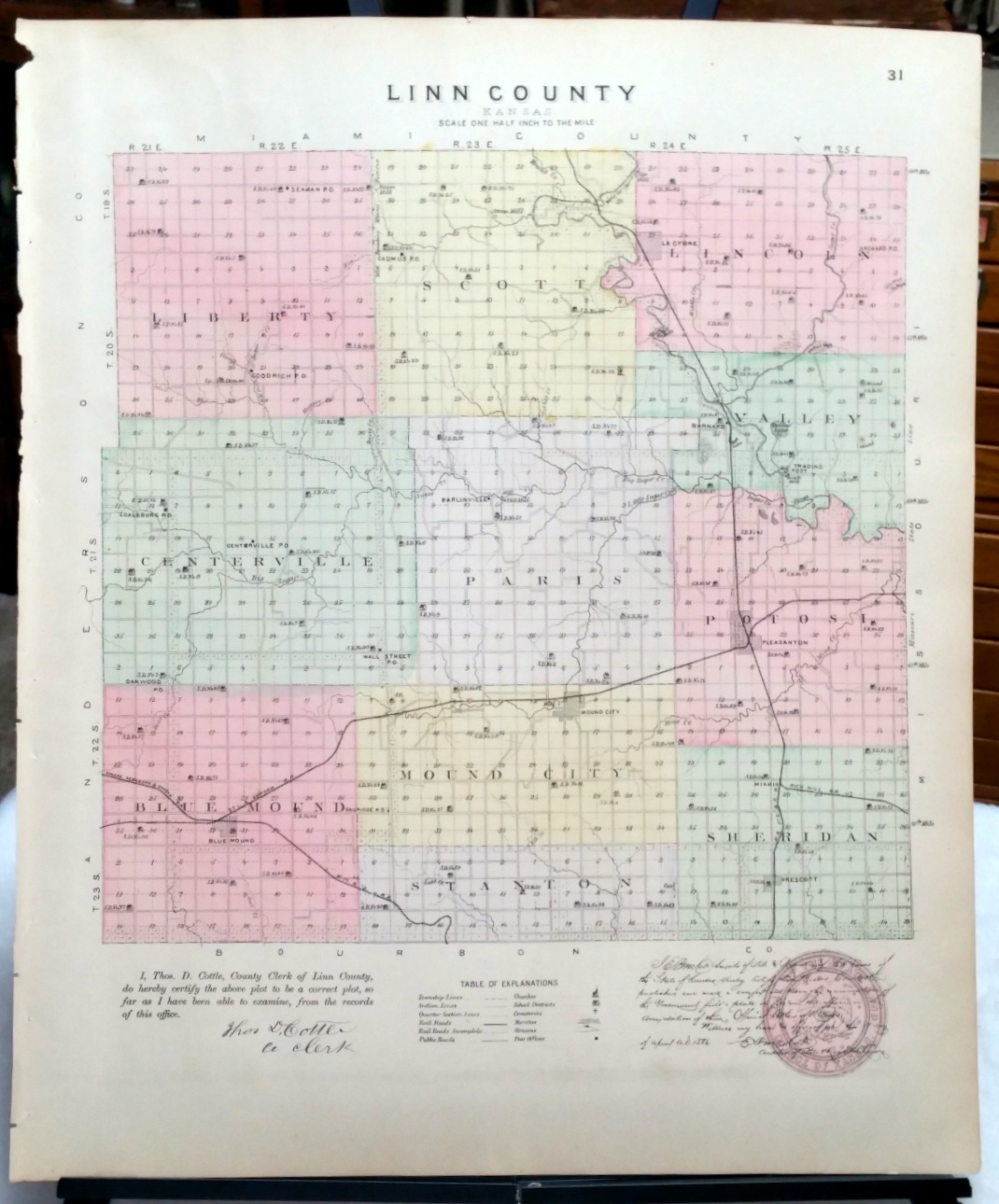 Image for [Map] Linn County, Kansas [backed with] Mound City and Blue Mound of Linn Co., And Arrington of Atchison Co.