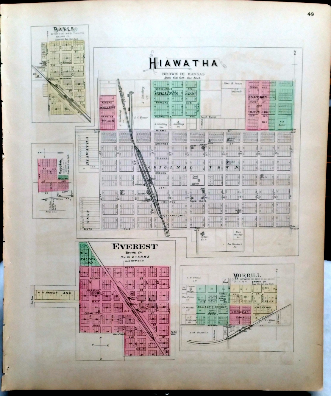 Image for [Map] Hiawatha, Baker, Padonia, Everest, & Morrill of Brown County, Kansas [backed with] Garnett of Anderson Co., And Robinson, Hamlin, Willis, & Reserve of Brown Co.
