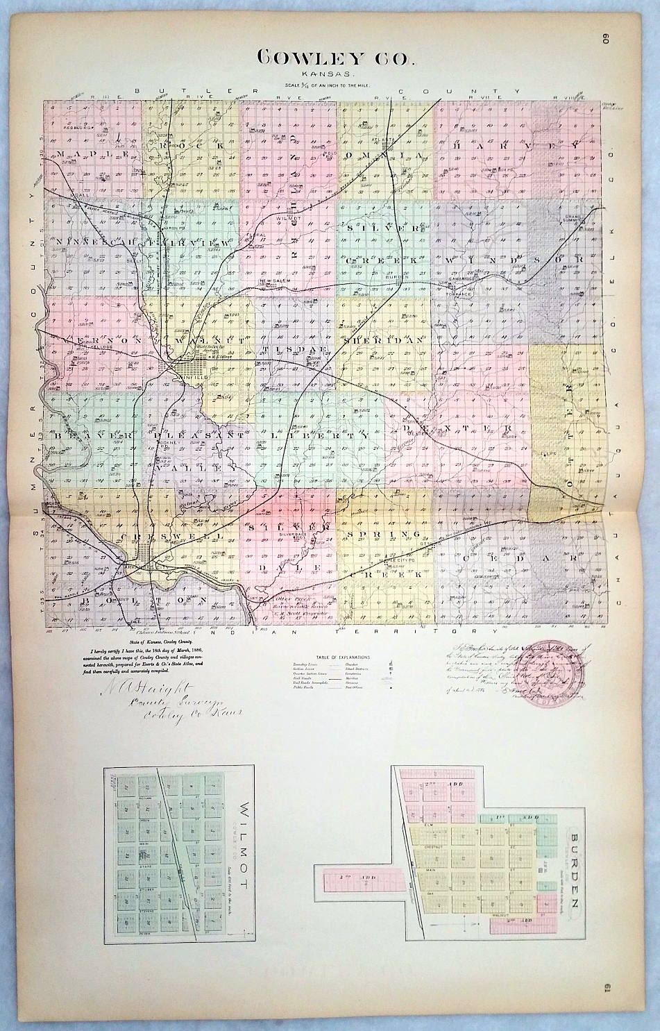 Image for [Map] Cowley County, Kansas, with Burden, & Wilmot of Cowley Co. [backed with] Cheney, Mulvane, Andale, Colwich, Garden Plains, Oatville, Greenwich, Bayneville, & Maize of Sedgwick Co., Freeport or Harper Co., And Mulvane and Milan of Sumner Co.