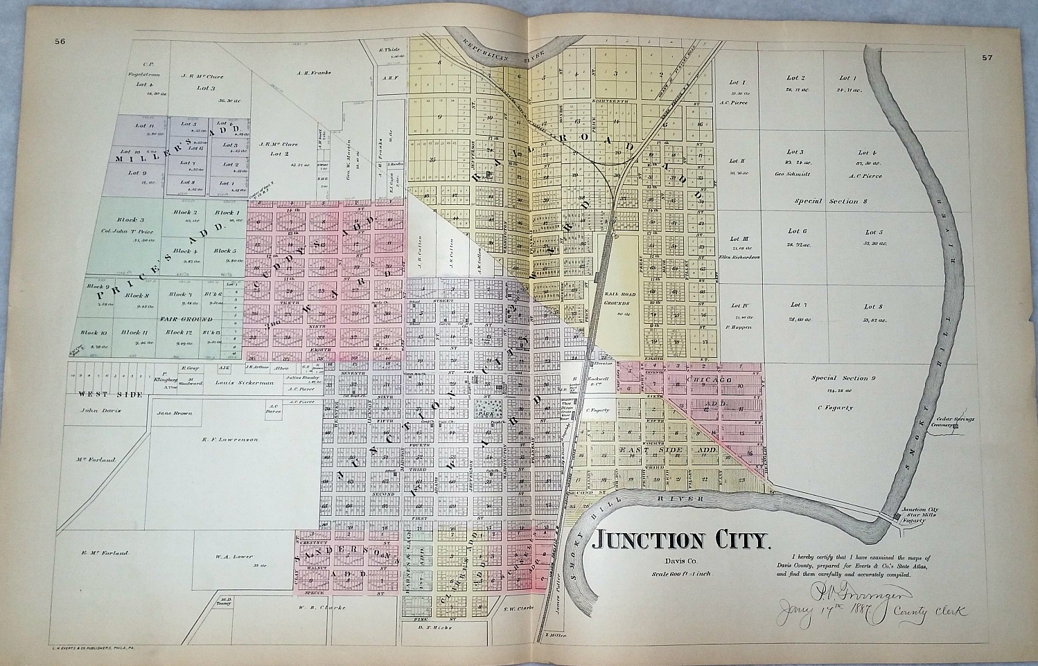 Image for [Map] Junction City, of Davis (Now Geary) County, Kansas [backed with] Iola, & Geneva of Allen Co. East Geuda Springs, Torrance, Kellogg, New Salem, Atlanta, Edall, Seeley, Cambridge, Grand Summit, Dexter, & Floral of Cowley Co.