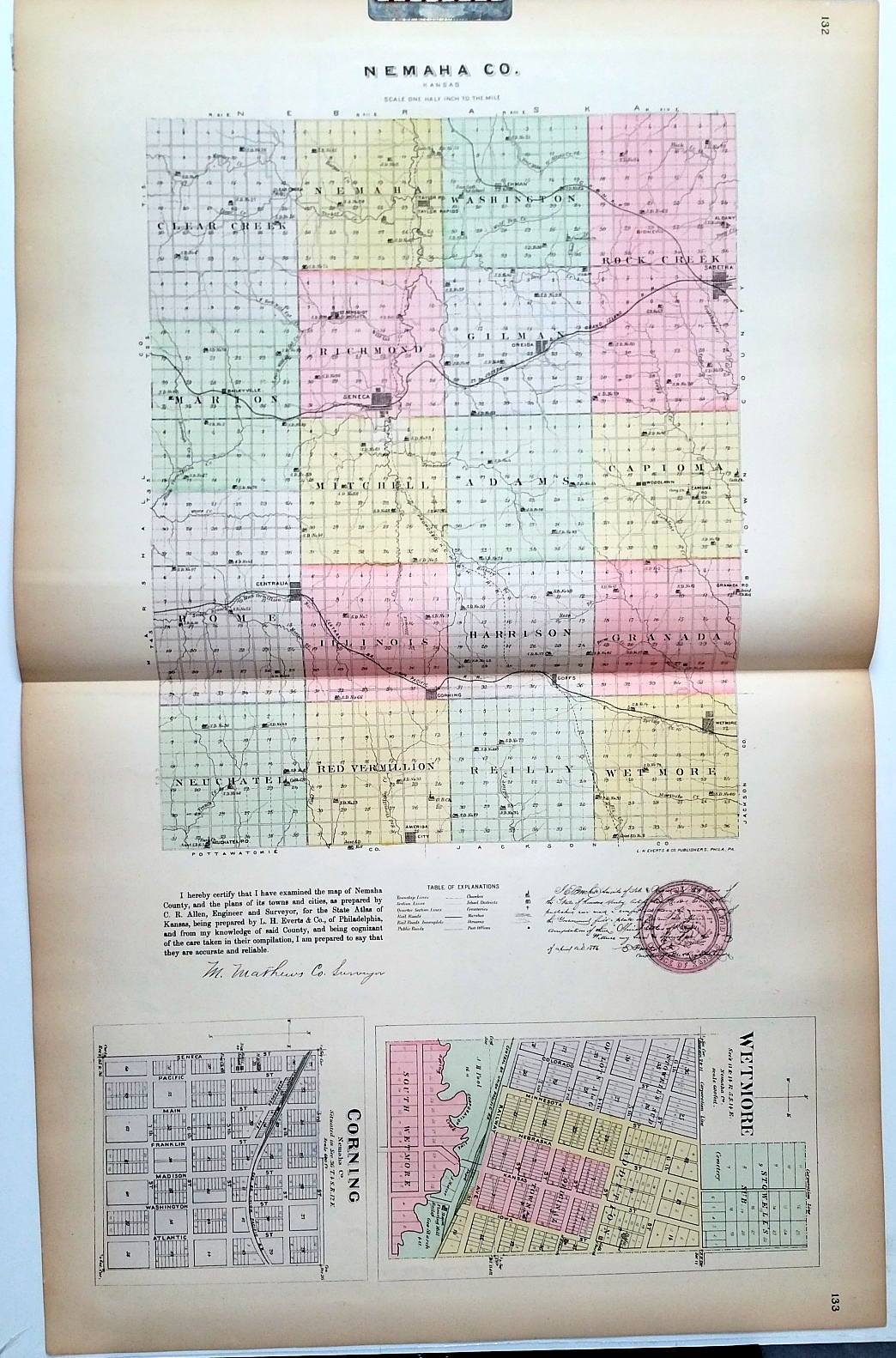Image for [Map] Nemaha County, Kansas, with Wetmore & Corning of Nemaha Co. [backed with]  Seneca, Oneida, Goffs, & Baileyville of Nemaha Co., And Reece, Fall River, Hamilton Neal, & Climax of Greenwood Co.