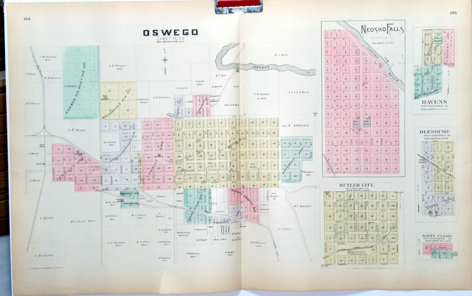 Image for [Map] Oswego of Labette County, Kansas, with Neosho Falls of Woodson Co., And Havens, Butler City, Olesburg, & Saint Clere of Pottawatomie Co. [backed  with] Woodson Co., And Yates Center & Toronto of Woodson Co.