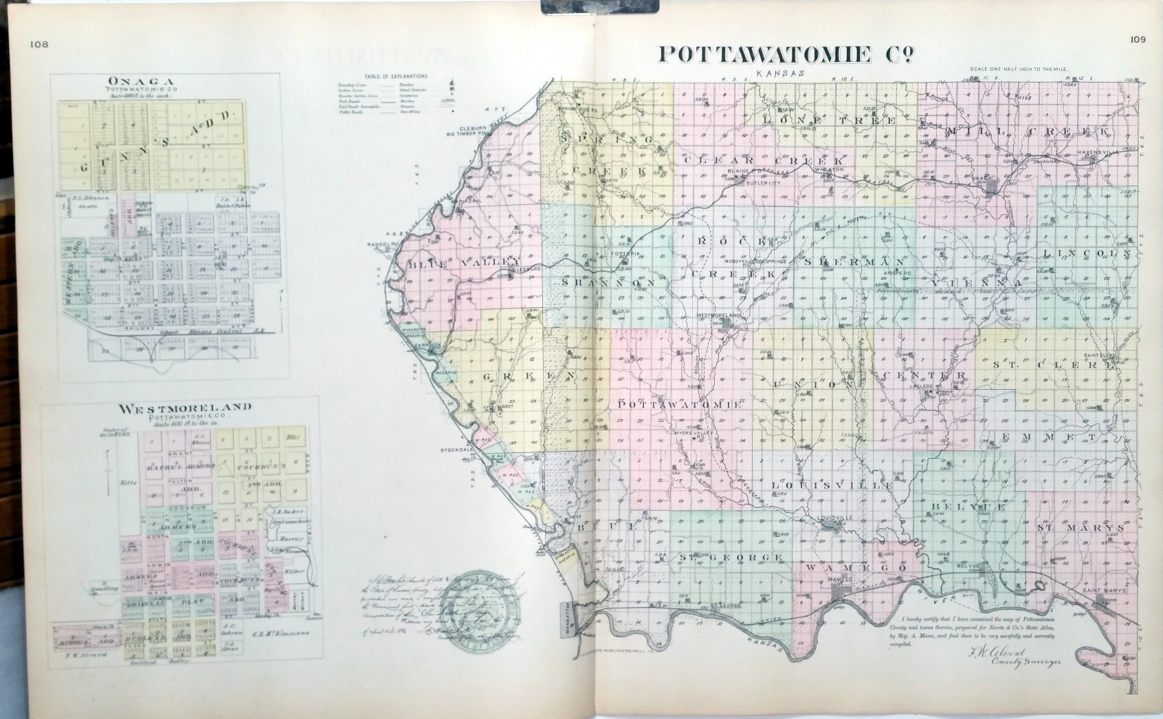 [Map] Pottawatomie County, Kansas, with Onaga & Westmoreland of  Pottawatomie Co  [backed with] Louisville, Wamego, Moodyville Springs,  Wheaton,